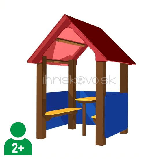Kovový domček s lavičkami a stolíkom