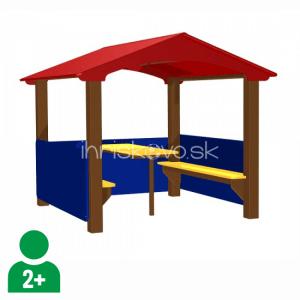 Veľký kovový domček s lavičkami a stolíkom
