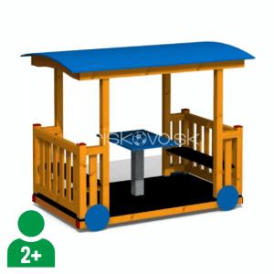 Vagónik drevený so stolíkom a strechou