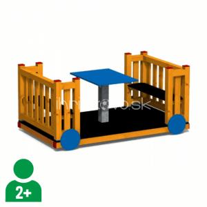 Vagónik drevený so stolíkom
